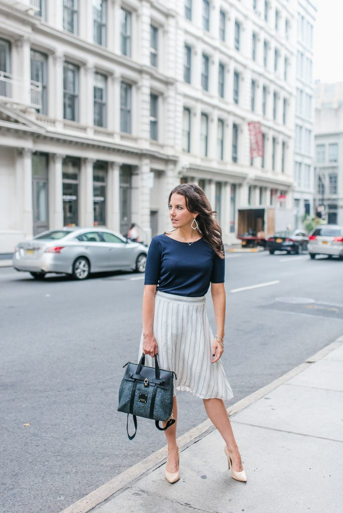 work outfit | white midi skirt | navy top | Houston Fashion Blogger Lady in Violet
