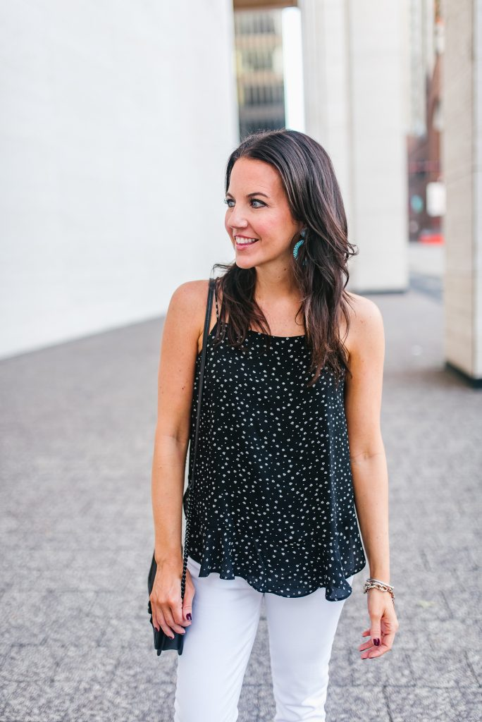 Casual outfit | black camisole | turquoise earrings | Houston Fashion Blogger Lady in Violet