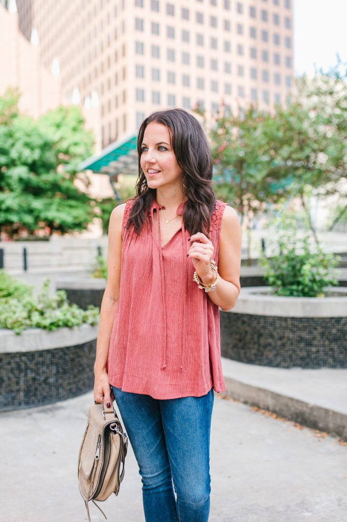 Casual outfit | coral blouse | saddle crossbody bag | Houston Fashion Blogger Lady in Violet