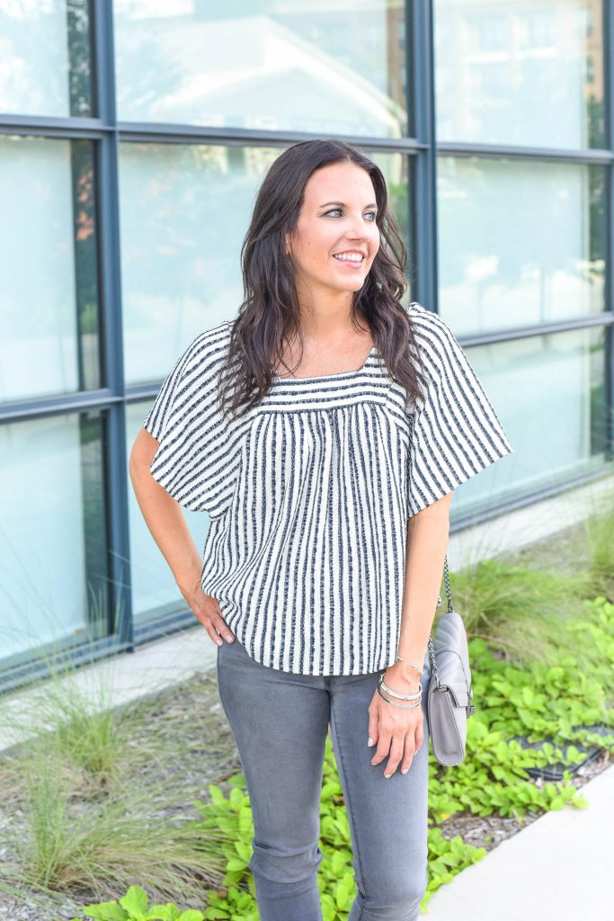 casual outfit | striped top | silver bracelets | Houston Fashion Blogger Lady in Violet
