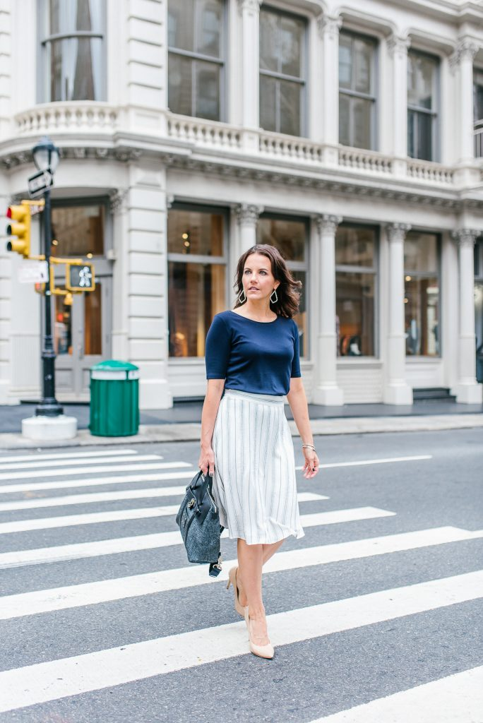 office outfit | white midi skirt | new york city street style | Houston Fashion Blogger Lady in Violet