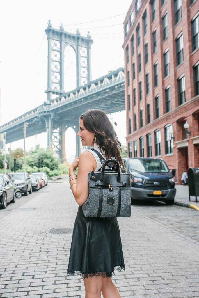 what to wear to nyfw | henri bendel jetsetter | leather skirt | Houston Fashion Blogger Lady in Violet