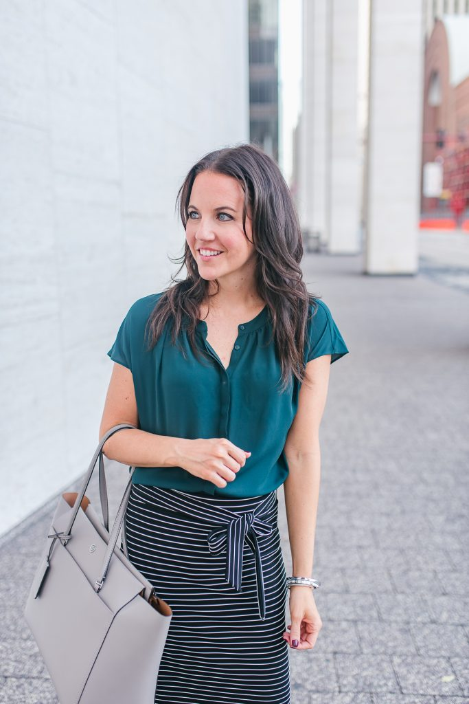 work outfit | teal blouse | striped skirt | Houston Fashion Blogger Lady in Violet