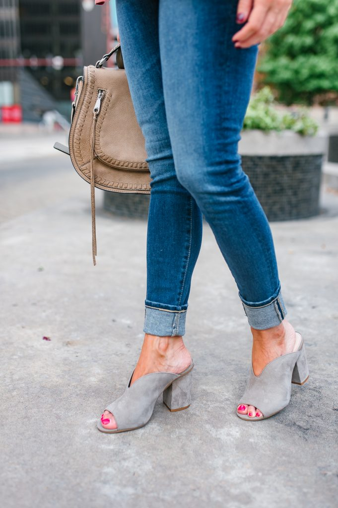 Fall outfit | cuffed skinny jeans | taupe mule sandals | Houston Fashion Blogger Lady in Violet