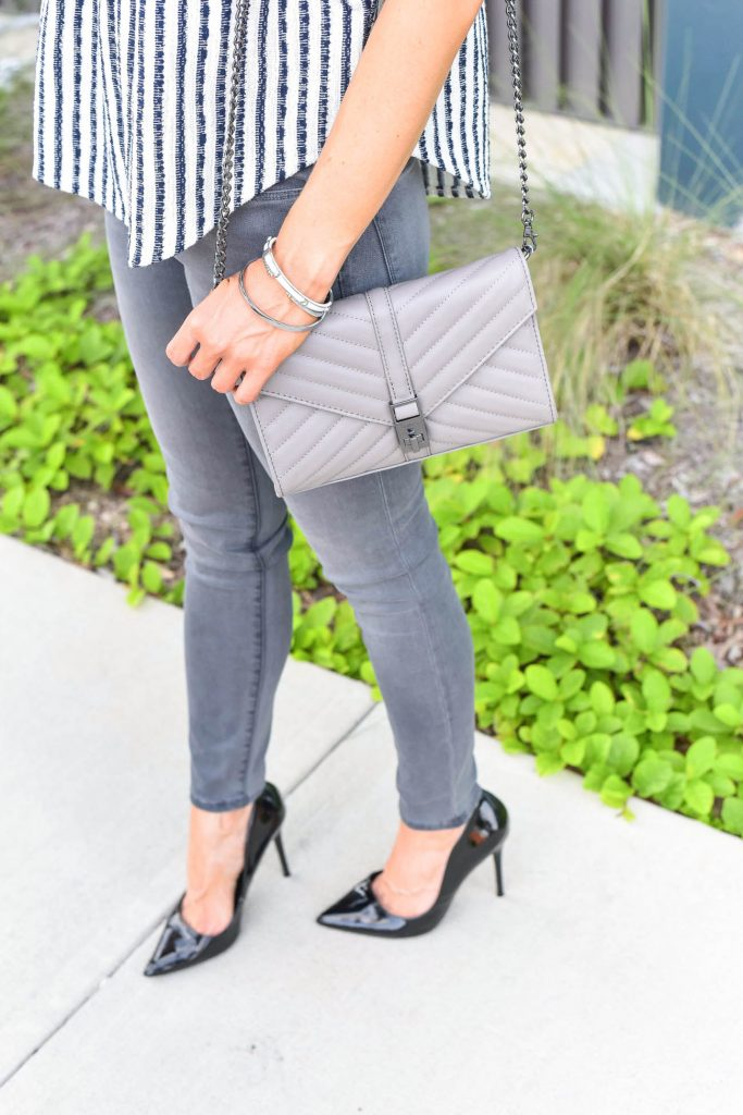 Fall outfit | gray crossbody bag | black patent heels | Houston Fashion Blogger Lady in Violet