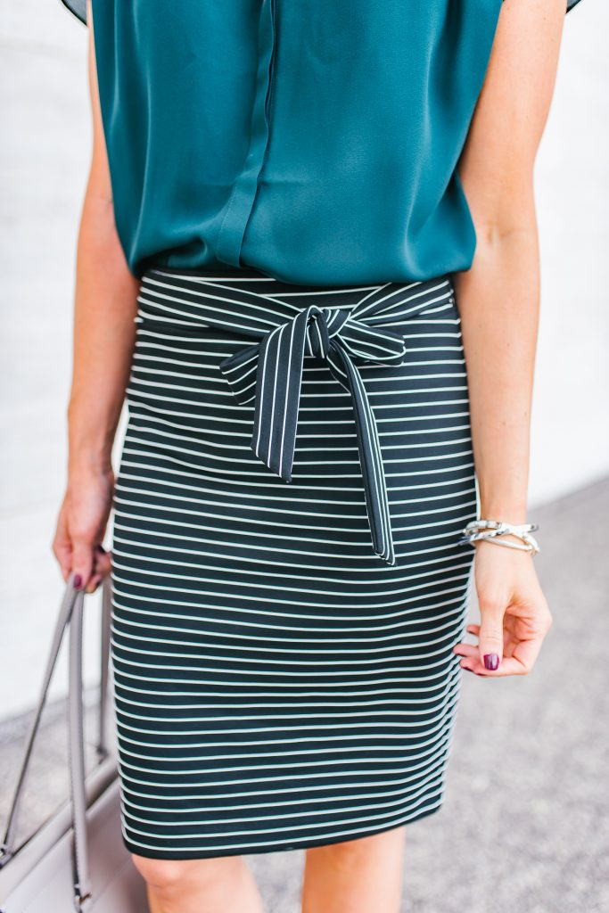 Office outfit | striped pencil skirt | silver bracelets | Houston Fashion Blogger Lady in Violet