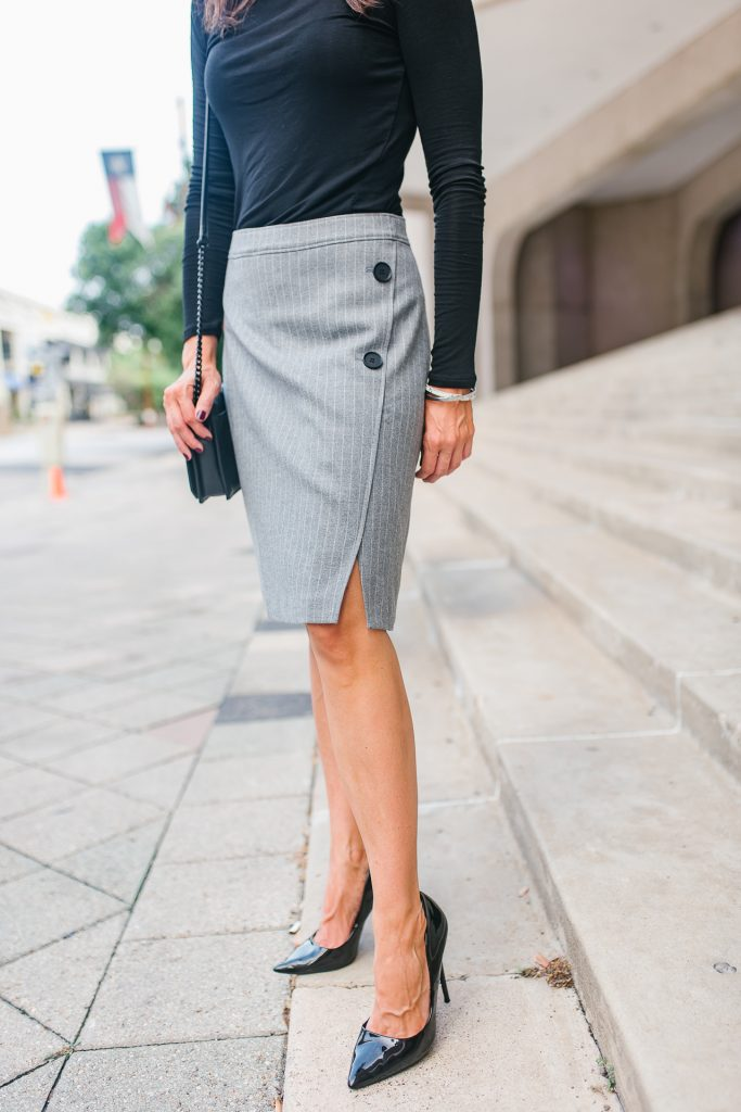 work outfit | gray striped pencil skirt | black patent heels | Houston Fashion Blogger Lady in Violet