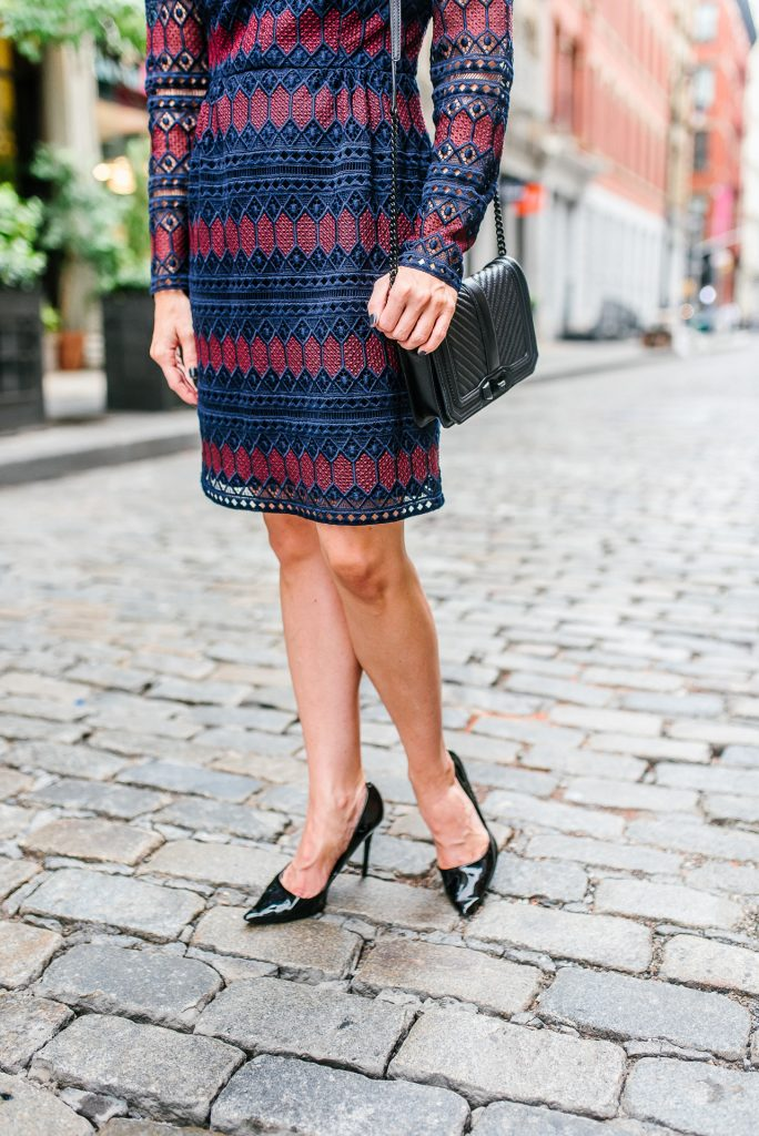 work outfit | striped dress | black patent heels | Houston Fashion Blogger Lady in Violet