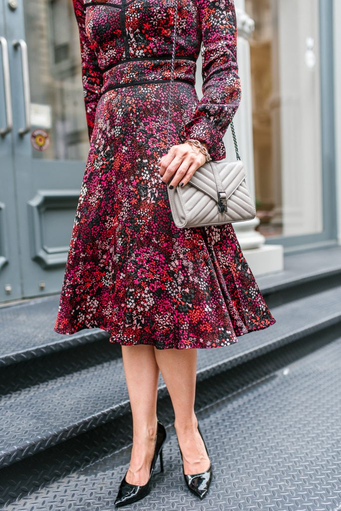 workwear | red floral midi dress | gray crossbody bag | Houston Fashion Blogger Lady in Violet