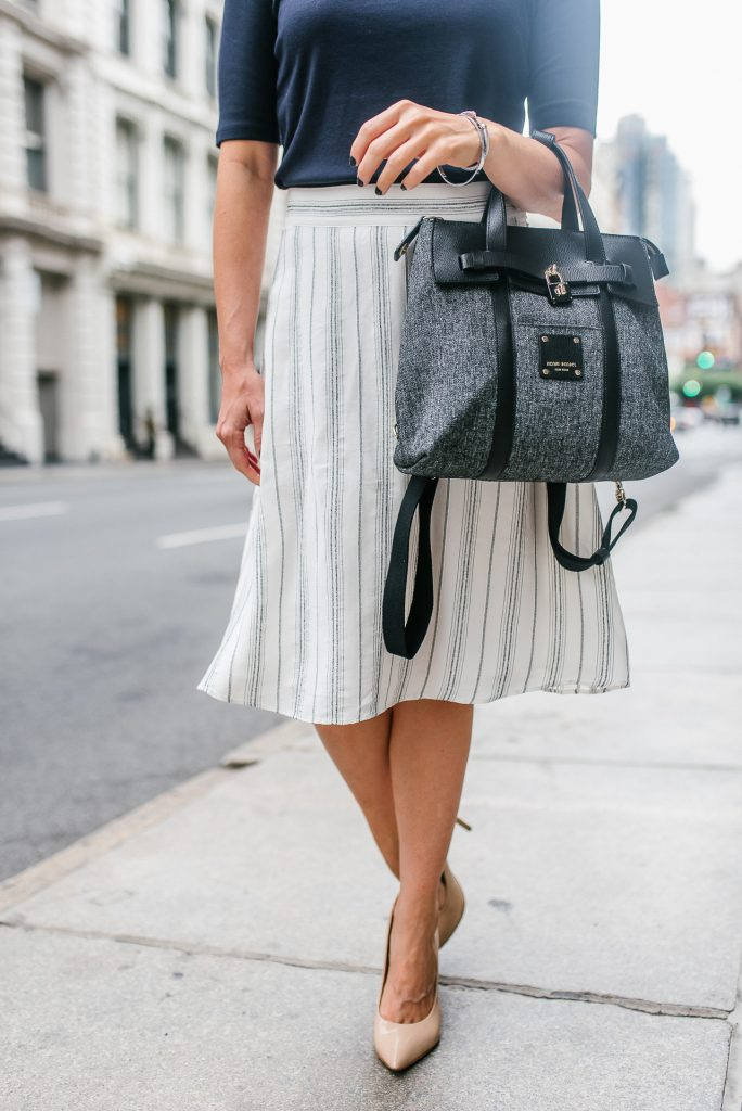workwear | white midi skirt | henri bendel jetsetter | Houston Fashion Blogger Lady in Violet