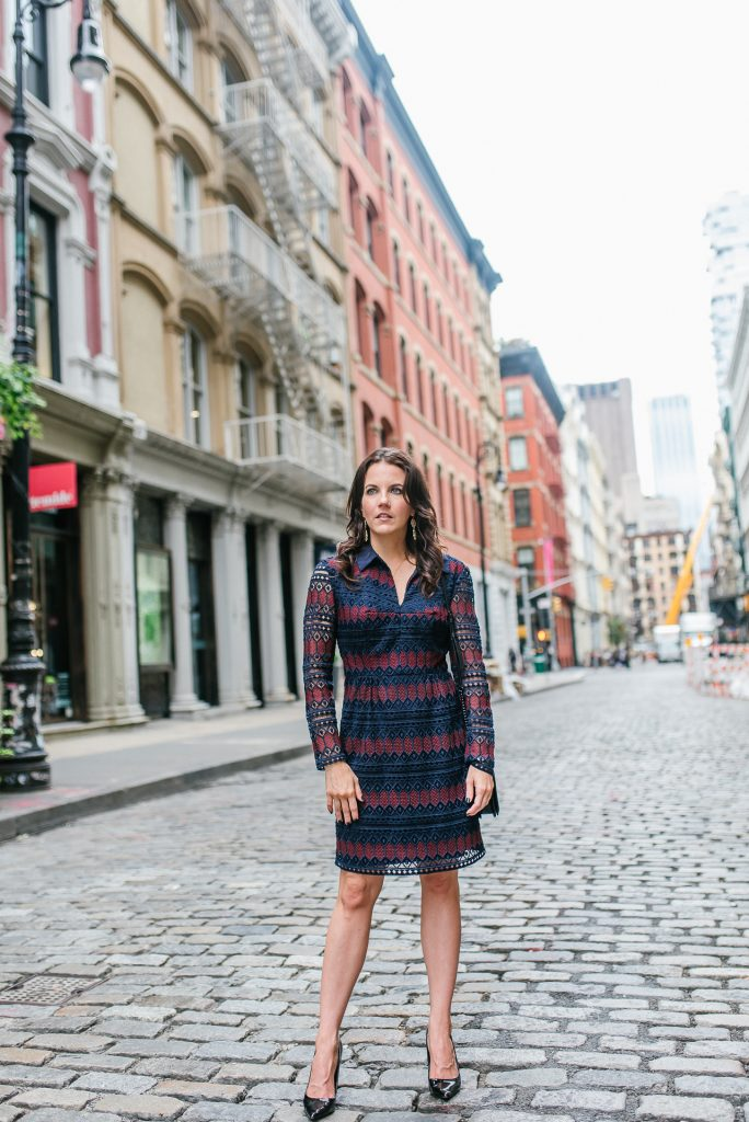 fall outfit | navy striped lace dress | nyfw street style | Houston Fashion Blogger Lady in Violet