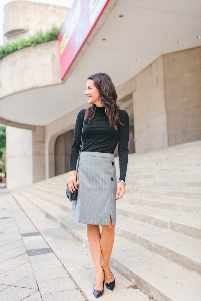 fall work outfit | black turtleneck | gray pinstripe skirt | Houston Fashion Blogger Lady in Violet