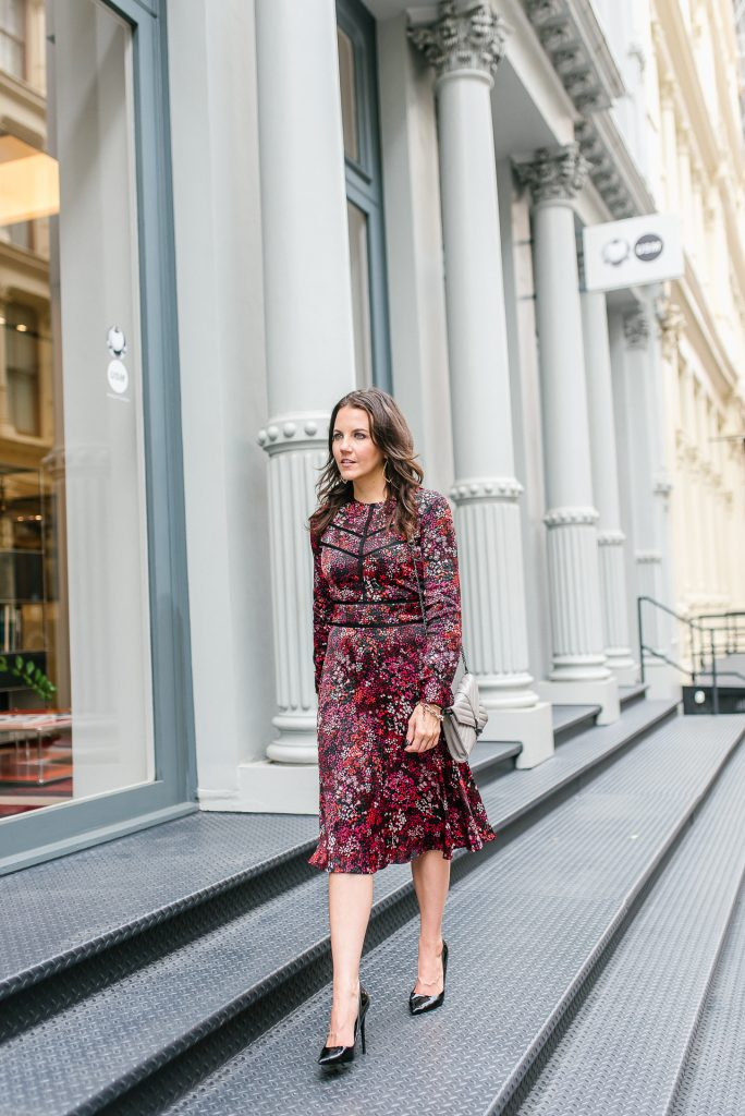 office outfit | red midi dress | black patent heels | Houston Fashion Blogger Lady in Violet