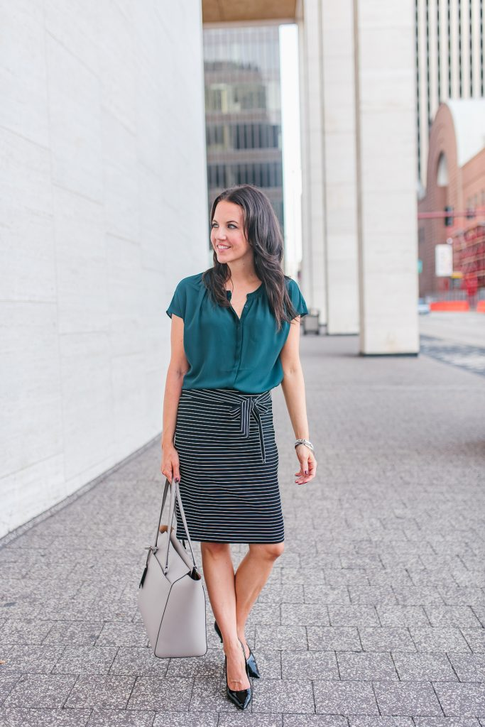 office outfit | teal top | striped pencil skirt | Houston Fashion Blogger Lady in Violet