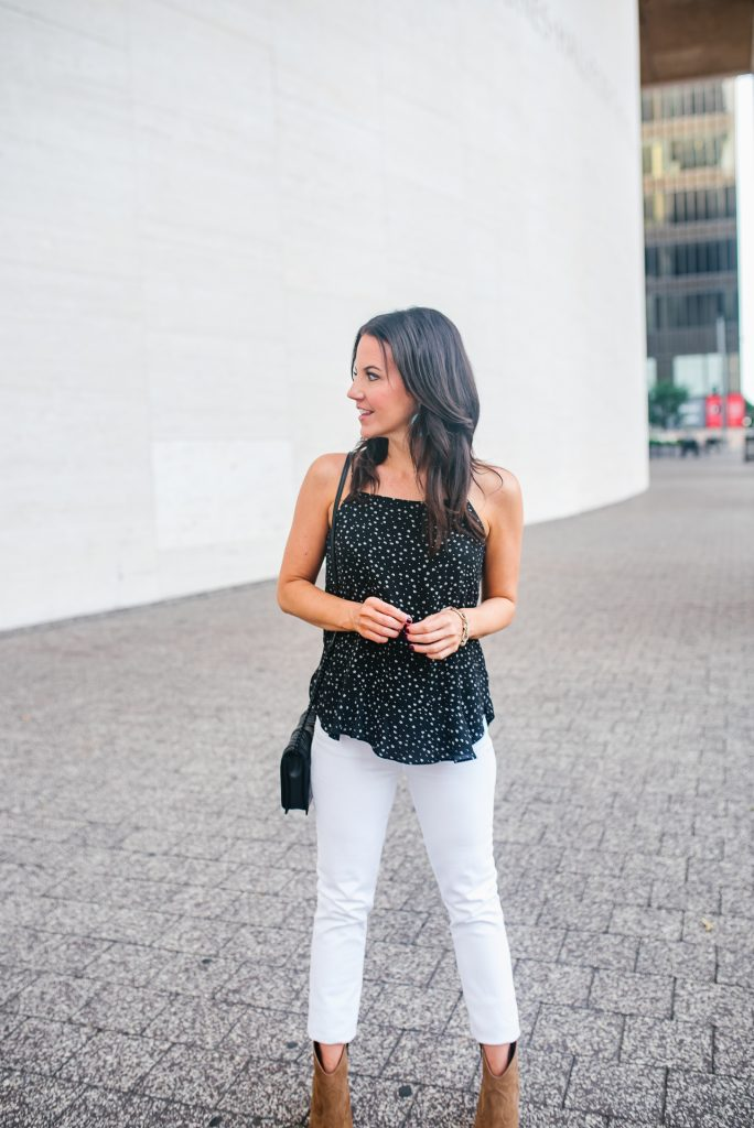 weekend outfit | black cami | white jeans | Houston Fashion Blogger Lady in Violet