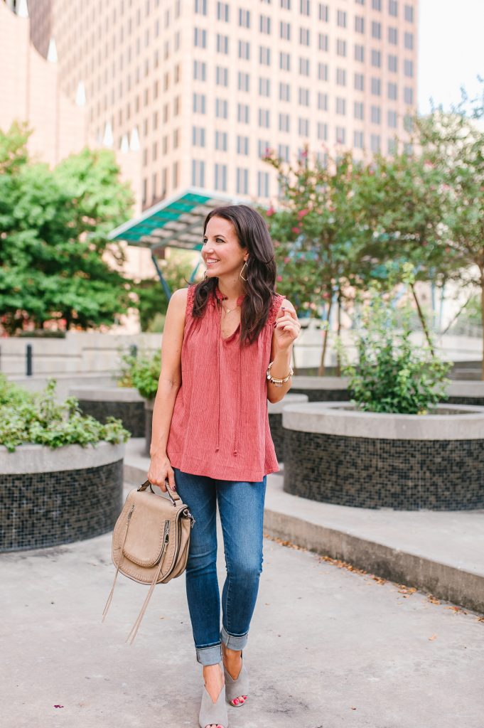 weekend outfit | coral sleeveless top | saddle bag | Houston Fashion Blogger Lady in Violet