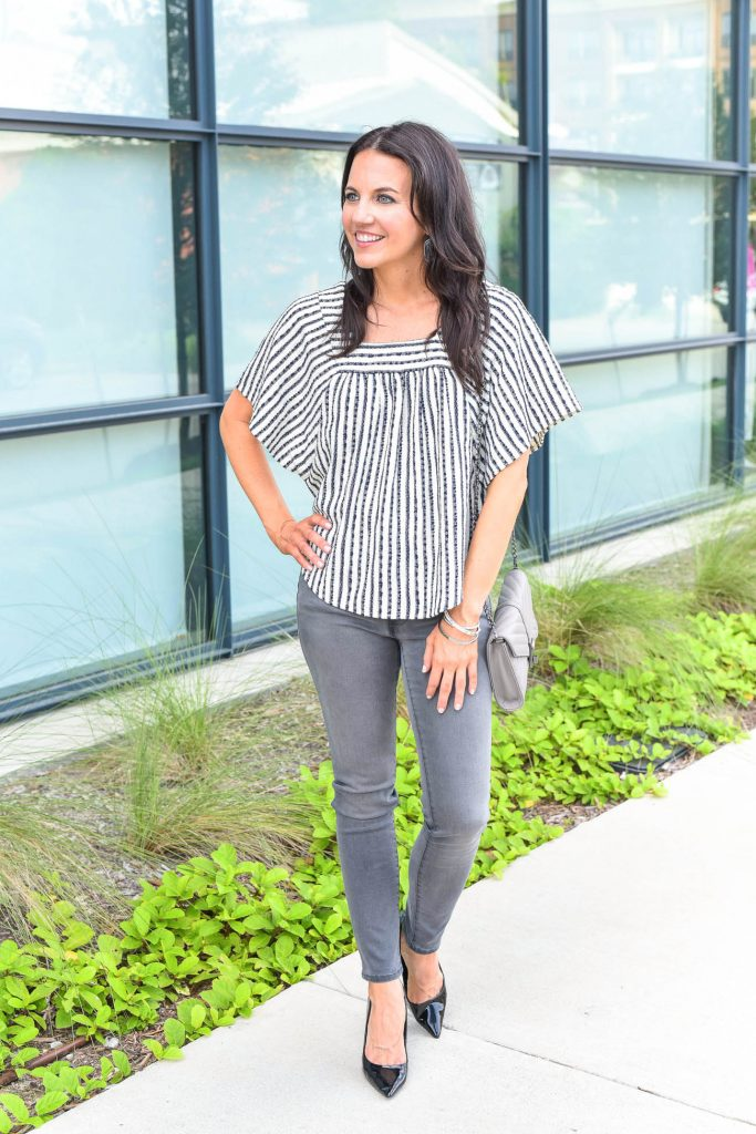 Fall outfit | black and white striped top | gray jeans | Houston Fashion Blogger Lady in Violet