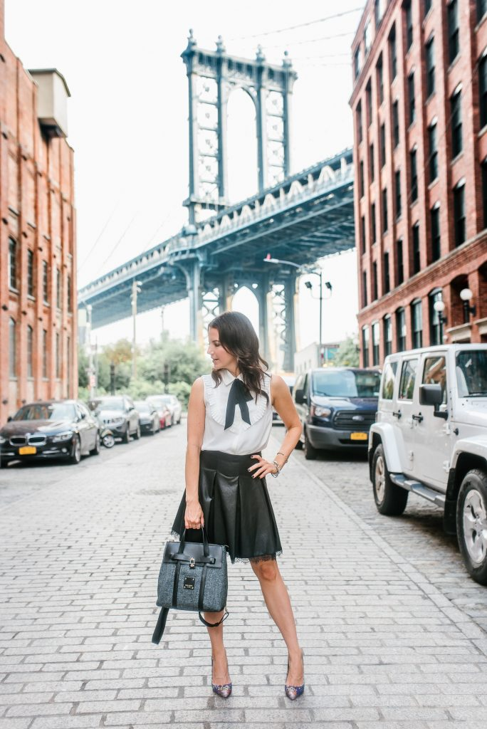 fall outfit | leather flared skirt | tie neck blouse | Houston Fashion Blogger Lady in Violet
