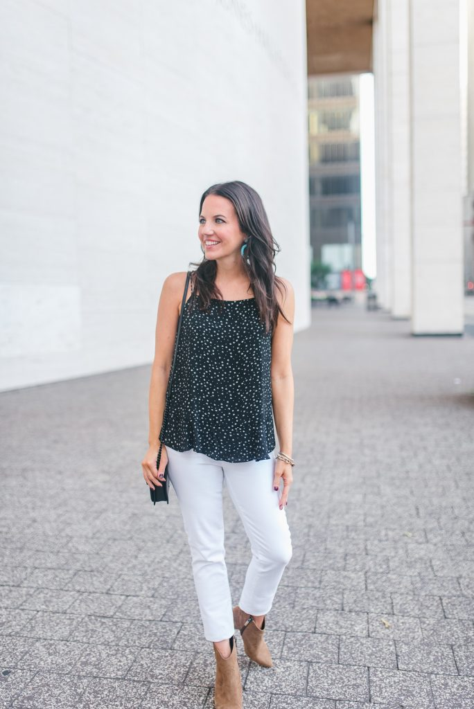Summer outfit | black cami | brown booties | Houston Fashion Blogger Lady in Violet