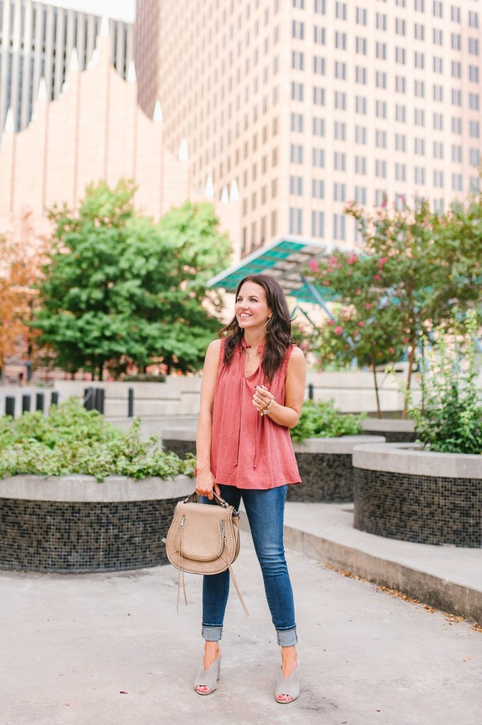 summer outfit | casual sleeveless top | cuffed denim | Houston Fashion Blogger Lady in Violet