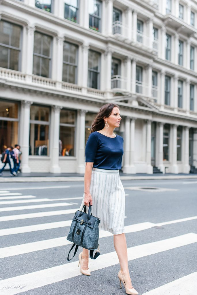 work outfit | navy top | black backpack | Houston Fashion Blogger Lady in Violet