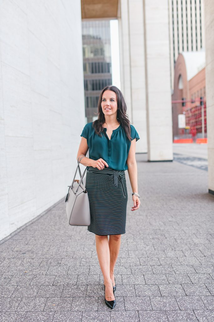 work outfit | teal blouse | black pencil skirt | Houston Fashion Blogger Lady in Violet