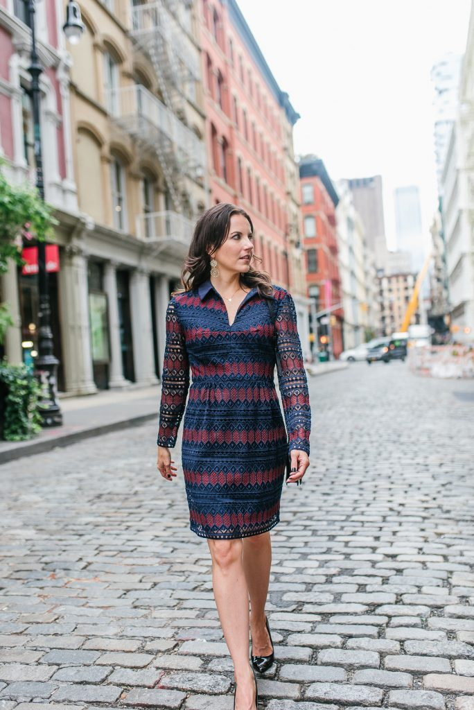 Fall outfit | striped lace dress | gold jewelry | Houston Fashion Blogger Lady in Violet