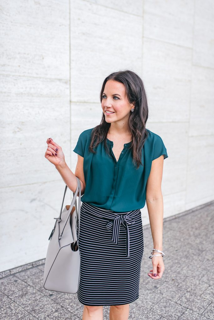 fall outfit | teal top | striped skirt | Houston Fashion Blogger Lady in Violet