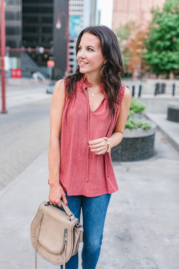 weekend outfit | coral blouse | blue jeans | Houston Fashion Blogger Lady in Violet