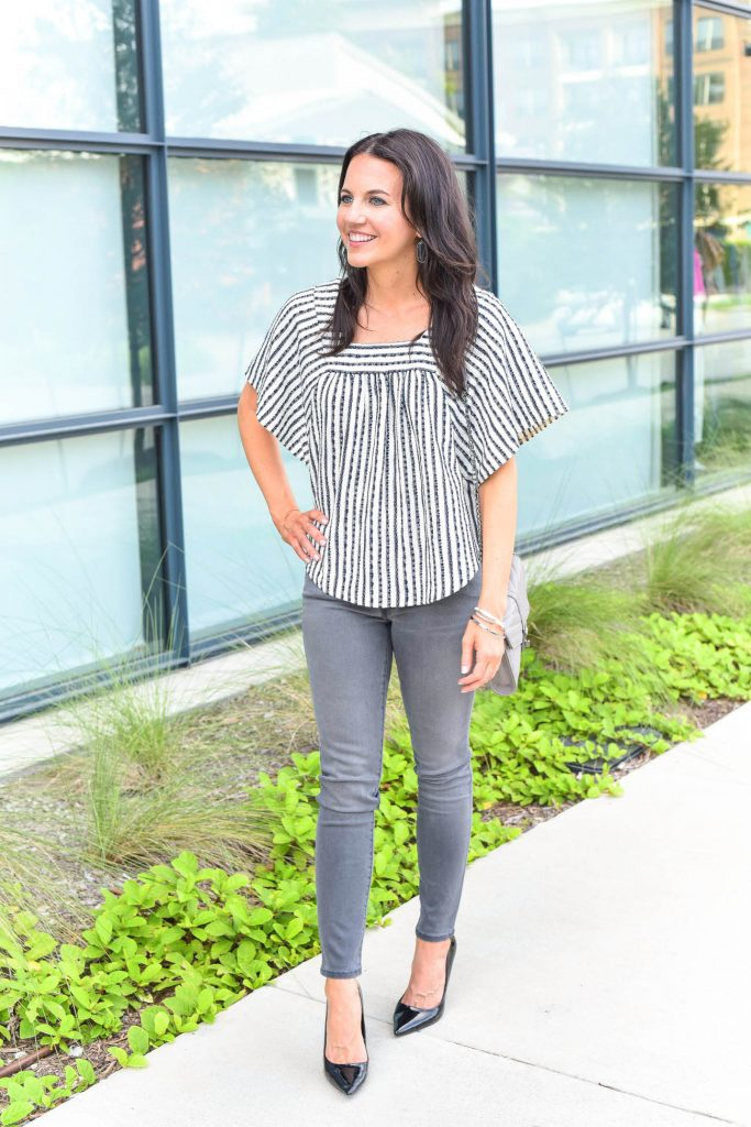 weekend outfit | gray skinny jeans | striped blouse | Houston Fashion Blogger Lady in Violet
