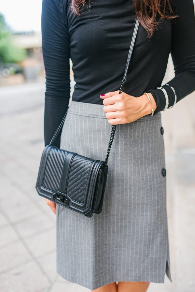 workwear | rebecca minkoff love bag | pinstripe skirt | Houston Fashion Blogger Lady in Violet