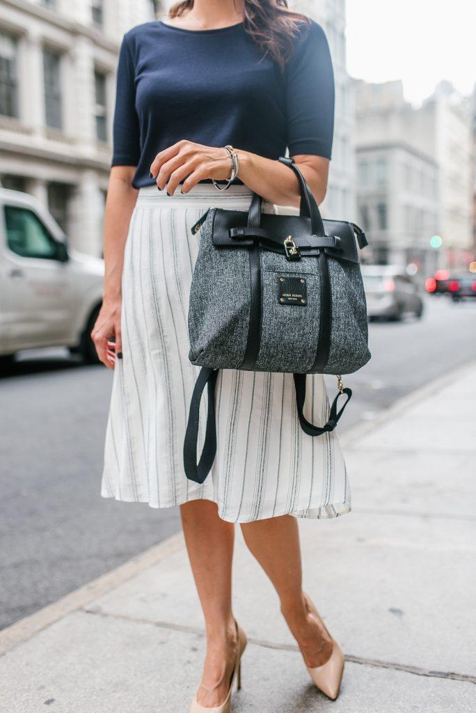 workwear | white striped skirt | henri bendel jetsetter bag | Houston Fashion Blogger Lady in Violet