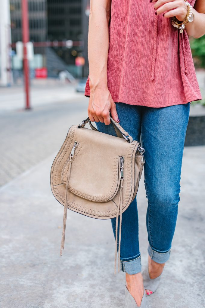 Casual outfit | rebecca minkoff vanity bag | ag jeans | Houston Fashion Blogger Lady in Violet