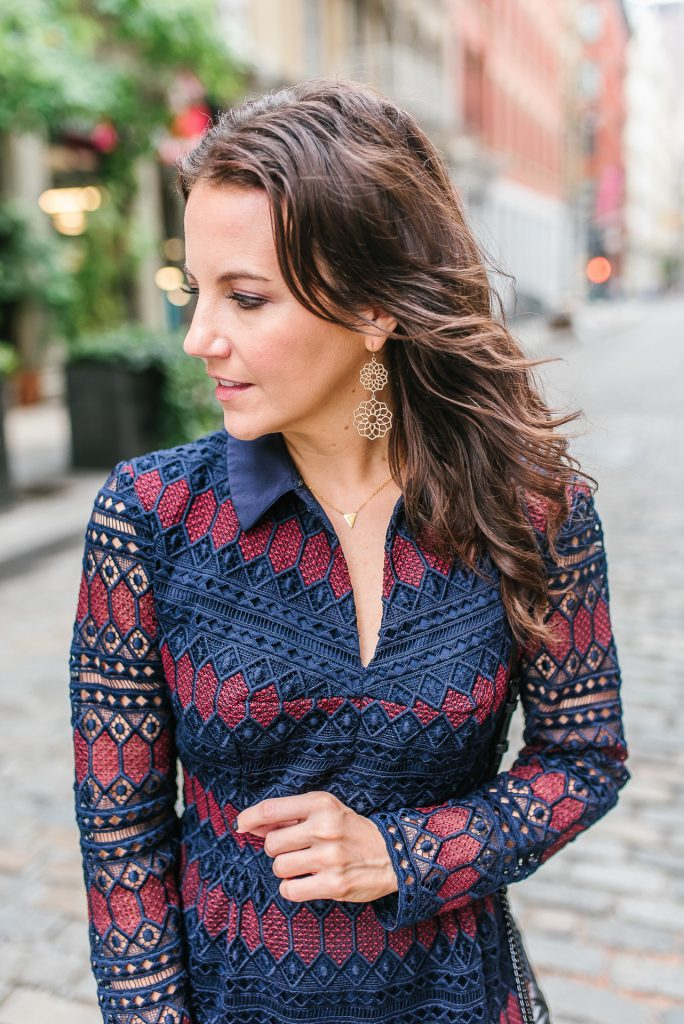 fall fashion | lace dress | gold drop earrings | Houston Fashion Blogger Lady in Violet