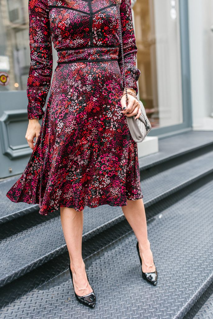 fall work outfit | red floral midi dress | nyfw street style | Houston Fashion Blogger Lady in Violet