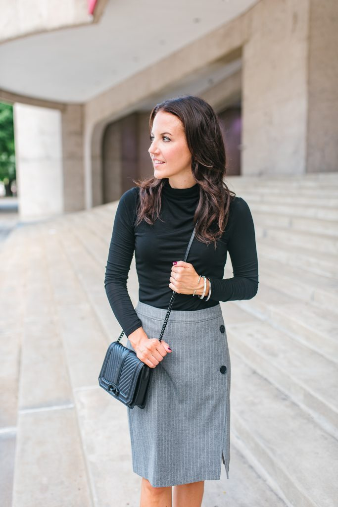 Office outfit | black turtleneck | gray skirt | Houston Fashion Blogger Lady in Violet
