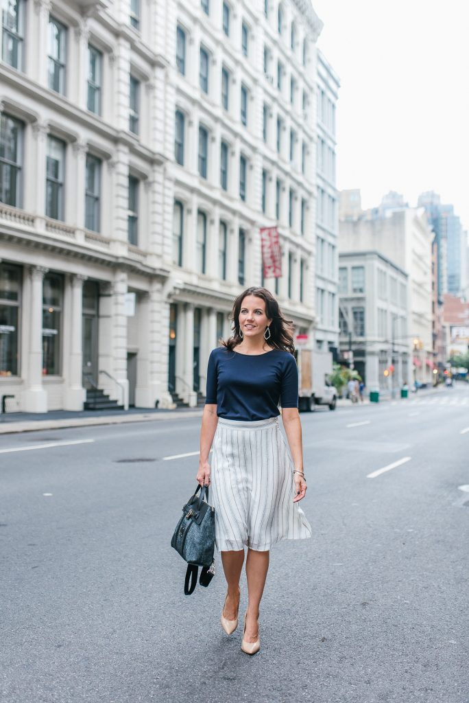 office outfit | white striped skirt | new york city fashion | Houston Fashion Blogger Lady in Violet