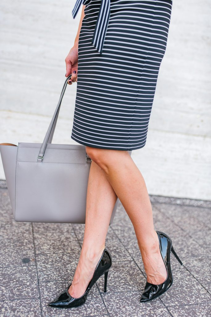 work outfit | black patent heels | striped pencil skirt | Houston Fashion Blogger Lady in Violet