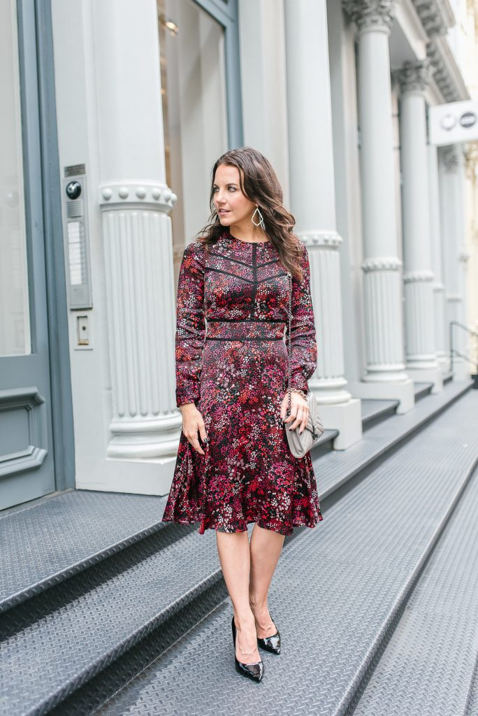 fall workwear | red midi dress | black patent heels | Houston Fashion Blogger Lady in Violet