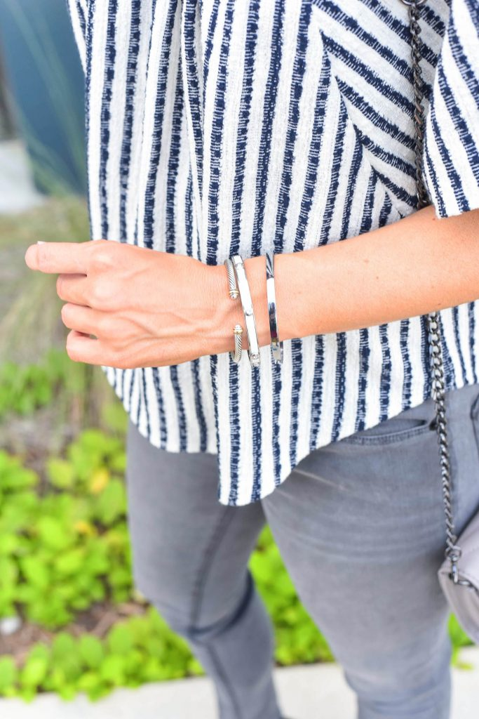 gray and black outfit | silver bracelets | gray jeans | Houston Fashion Blogger Lady in Violet