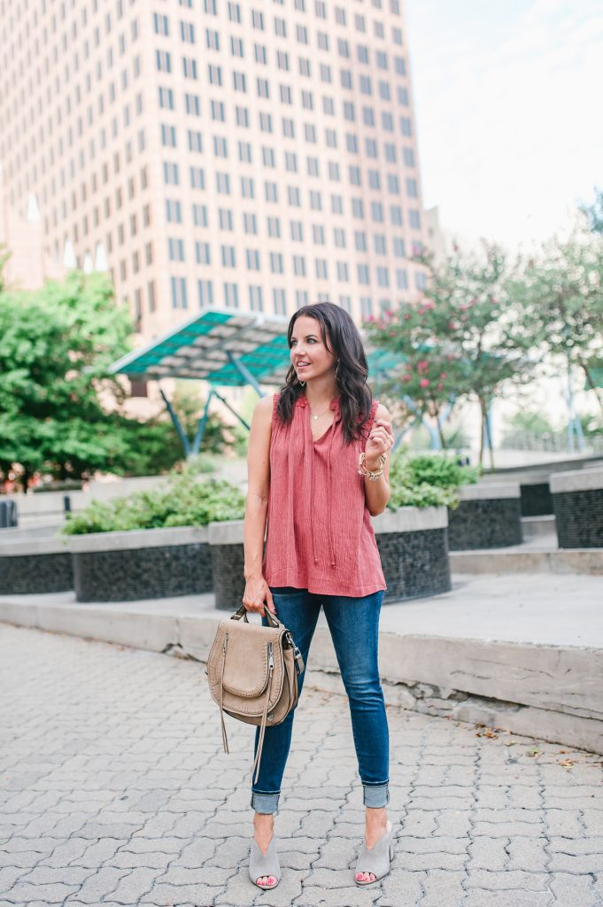 summer outfit | orange sleeveless top | cuffed jeans | Houston Fashion Blogger Lady in Violet