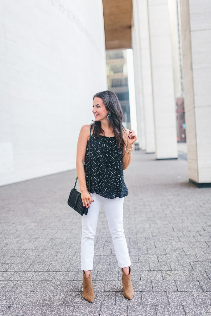 Summer outfit | white jeans | brown booties | Houston Fashion Blogger Lady in Violet