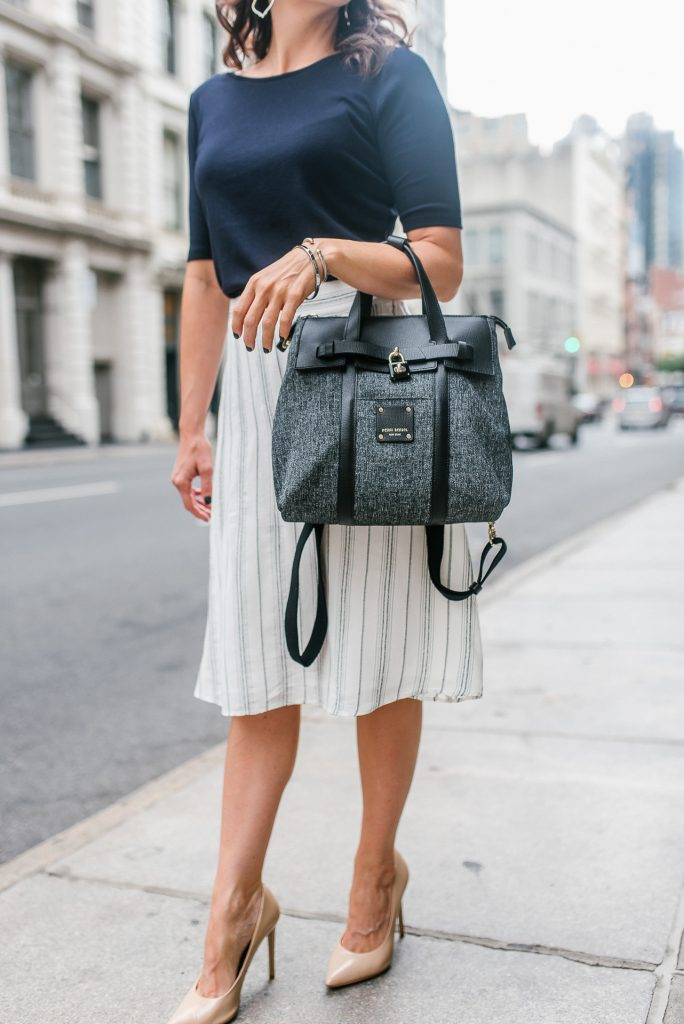 work outfit | white striped skirt | black satchel bag | Houston Fashion Blogger Lady in Violet