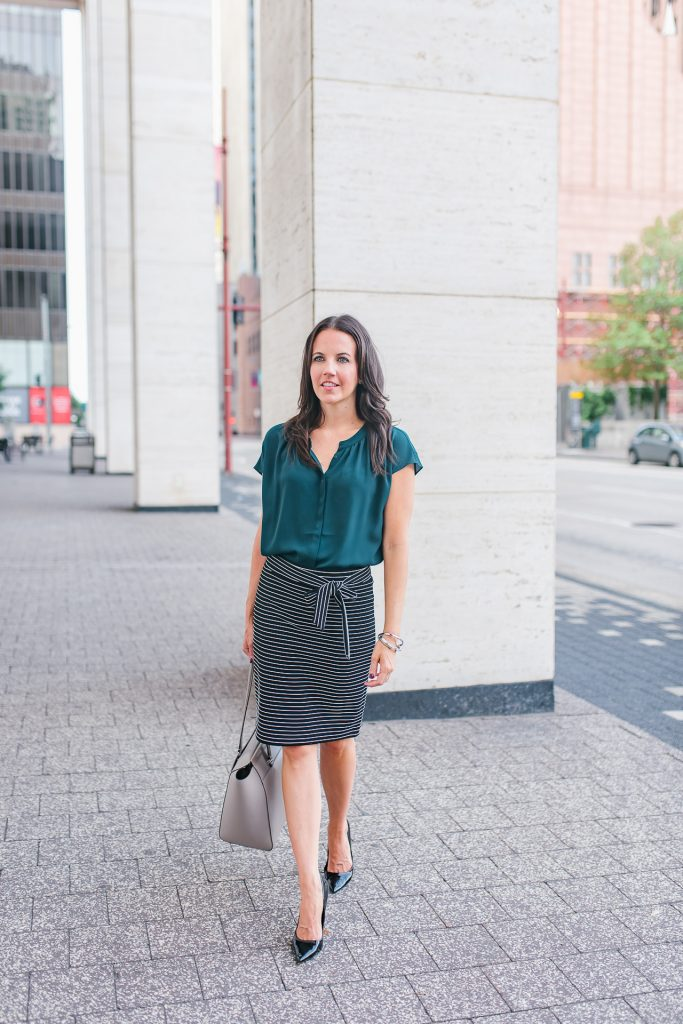 work outfit | teal top | black pencil skirt | Houston Fashion Blogger Lady in Violet