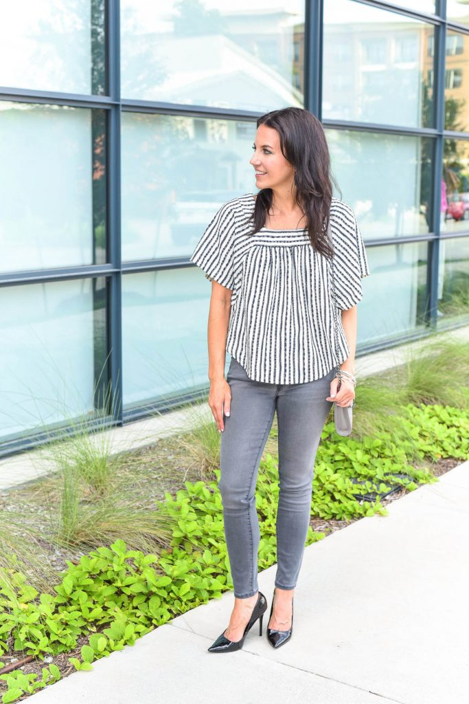 Fall outfit | gray skinny jeans and black heels | Houston Fashion Blogger Lady in Violet