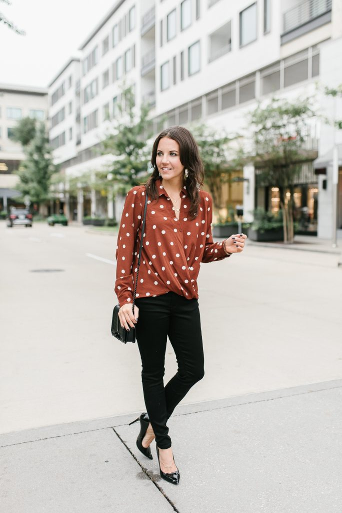 fall outfit | brown polka dot blouse | black skinny jeans | Houston Fashion Blogger Lady in Violet