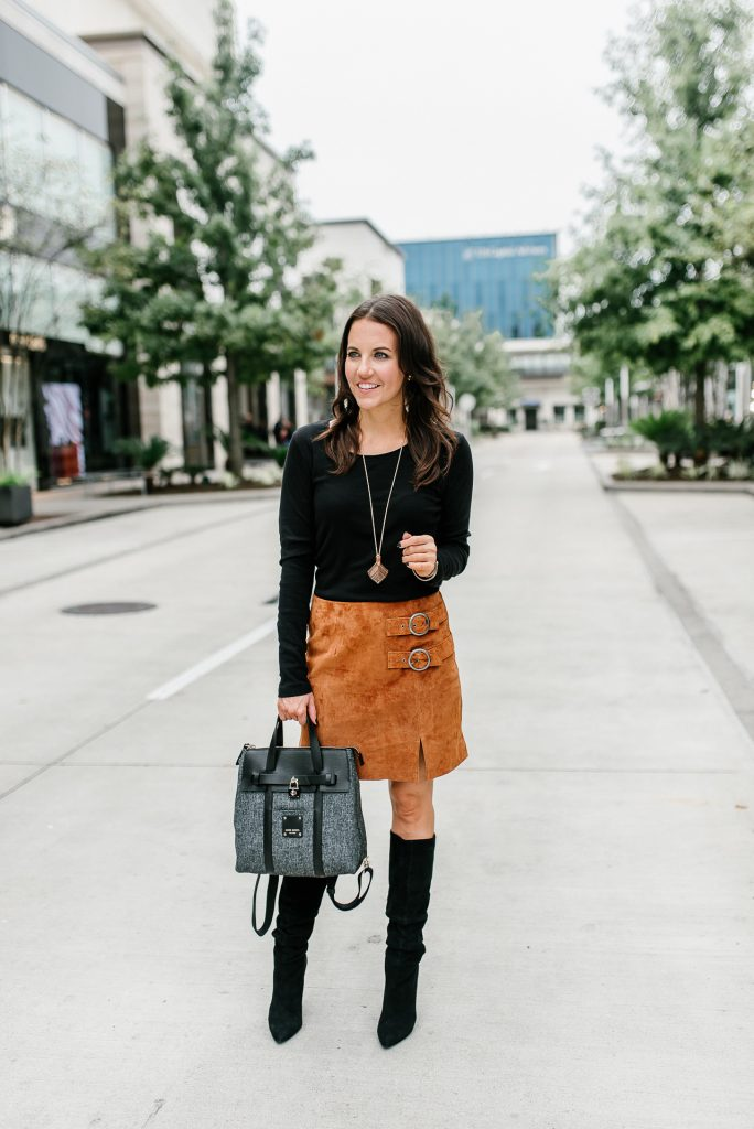 fall outfit | brown suede skirt | black slouchy boots | Houston Fashion Blogger Lady in Violet