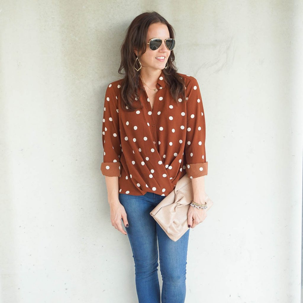 Fall outfit | polka dot top | Houston Fashion Blogger Lady in Violet