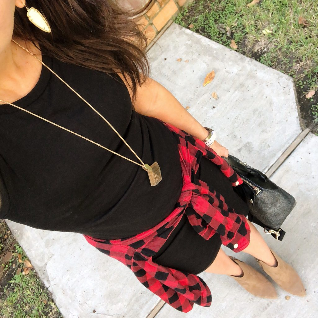 casual fall outfit | buffalo plaid | black dress | Houston Fashion Blogger Lady in Violet