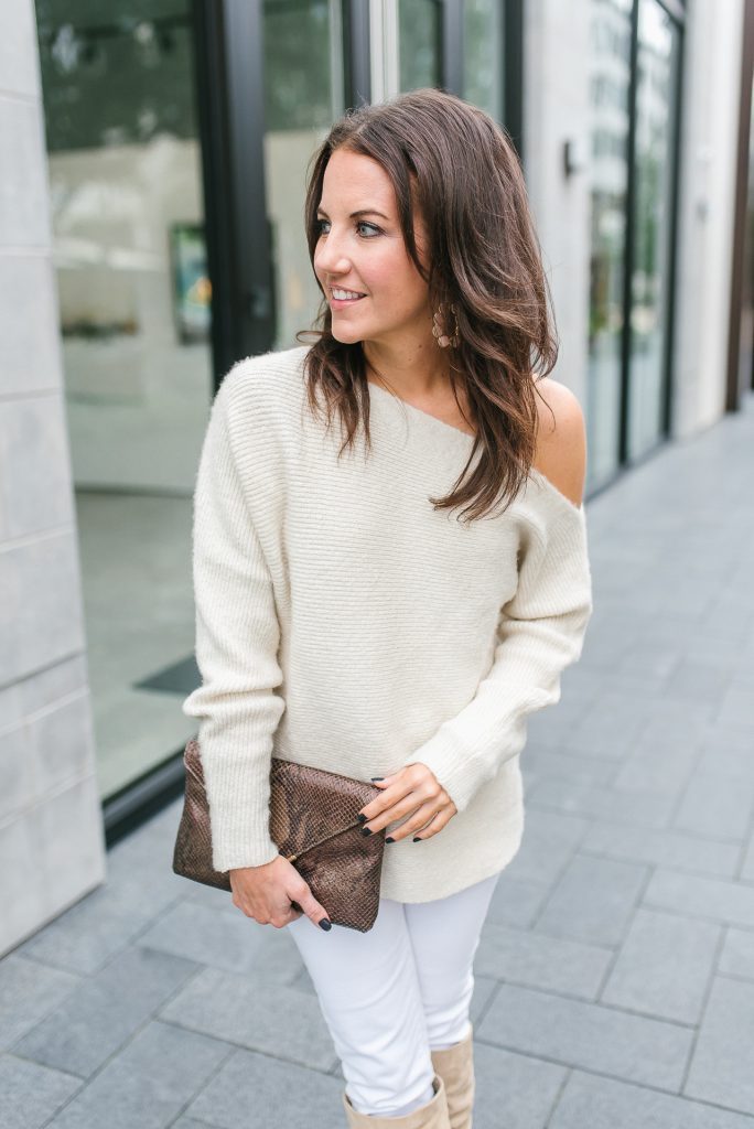 winter outfit | ivory sweater | white jeans | Houston Fashion Blogger Lady in Violet